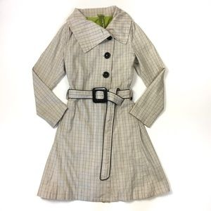 Soia and Kyo plaid belted trench coat fit & flare